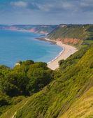 Branscombe beach Devon towards Sidmouth and Ladram Bay — Stock Photo