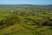View from Brent Knoll to Mendip Hills Somerset — Stock Photo