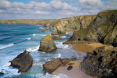 Carnewas and Bedruthan Steps near Newquay Cornwall England UK — Zdjęcie stockowe