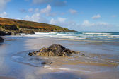 Crantock beach Cornwall England in autumn — Stock Photo