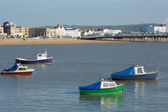 Boats Weston-super-Mare bay and sea front view towards the beach — Stock Photo