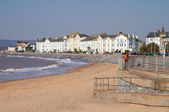 Exmouth beach and seafront Devon South West England a popular tourist resort — Stock Photo