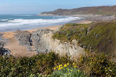 Woolacombe bay beach and coast Devon England view towards Morte Point — Stock Photo