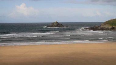 Holywell Bay beach North Cornwall England — Stock Video