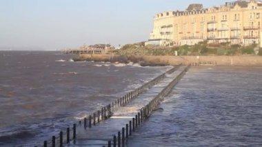 Waves breaking over Marine Lake Causeway Weston-super-mare Somerset — Stock Video