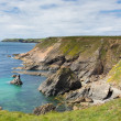 Wales coast scene towards Skomer Island Pembrokeshire, area known for Puffins — Stock Photo