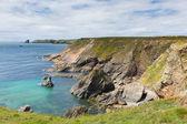 Wales coast scene towards Skomer Island Pembrokeshire, area known for Puffins — Stock Photo