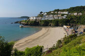 Looe beach Cornwall England with blue sea on a sunny summer day — Stock Photo