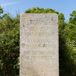 Stock Photo: Memorial to Alfred Leslie Rowse British historiand poet from Cornwall on Black Head headland St Austell Bay between Porthpeand Pentewan