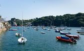 Boats on Fowey river Cornwall England view to the north — Stock Photo