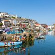 Mevagissey Cornwall England boats in the harbour on a beautiful blue sky summer day — Stok fotoğraf