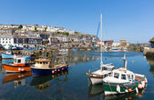 Mevagissey Cornwall England boats in the harbour on a beautiful blue sky summer day — Stock Photo