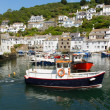 Boat in Polperro harbour Cornwall England UK — Stock Photo