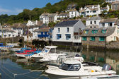 Cornish harbour boats in a line — Stock Photo