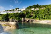 Harbour wall and green sea Looe Cornwall England — Stock Photo
