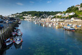 Looe River Cornwall England UK with boats yachts and blue sea and sky — Stock Photo