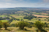 View from Quantock Hills Somerset of the green fields of England — Stock Photo