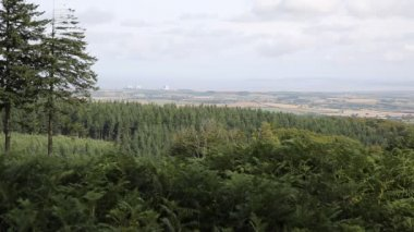 View from the Quantock Hills Somerset England views towards Hinkley Point Nuclear Power station and Bristol Channel — Stock Video