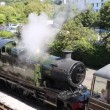Steam Train letting off steam in the railway station — Stock Video