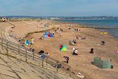Dawlish Warren beach Devon England on blue sky summer day — Stock Photo