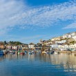 Brixham harbour Devon with blue sky, traditional coast scene in England — Foto Stock