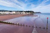 Teignmouth town and beach Devon England with blue sky — Foto de Stock