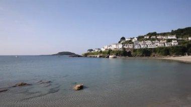 Looe beach and bay Cornwall England UK blue sea and sky — Stock Video