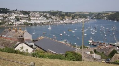 Fowey Cornwall from Polruan England near St Austell on a beautiful summer day — Video Stock