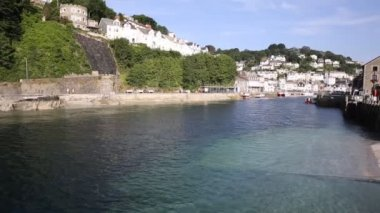 View of Looe town and river Cornwall England — Stock Video