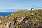 First and last house Lands End Cornwall UK the most westerly point of England on the Penwith peninsula eight miles from Penzance on the Cornish coast — Stock Photo