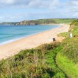 Stock Photo: South West Coast Path PraSands Cornwall England sandy beach and blue sky on beautiful sunny day