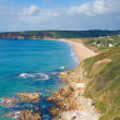 Beautiful Cornwall coast turquoise sea and blue sky at Praa Sands — Stock Photo
