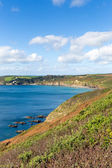 Kenneggy Sand Cornwall England near Praa Sands and Penzance on the South West Coast Path with blue sky and sea on a sunny day — Stock Photo
