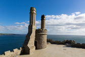 Top of St Michael's Mount medieval castle Cornwall England with blue sky and cloud — Stock Photo