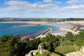 Looking out from St Michael's Mount of Marazion Cornwall England of the harbour wall and boats and mainland on a beautiful sunny summer day — Stock Photo