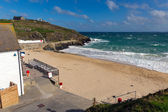Porthgwidden beach St Ives Cornwall England waves and blue sea and sky — Stok fotoğraf