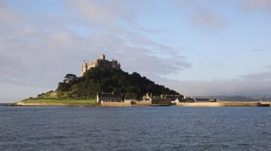 Castle on an island St Michaels Mount Marazion Cornwall England — Stock Video