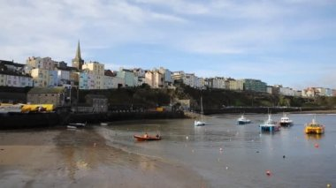 Tenby Pembrokeshire Wales historic Welsh town on west side of Carmarthen Bay — Stock Video