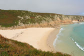 Autumn colours at Porthcurno beach Cornwall England UK by the Minack Theatre — Stock Photo