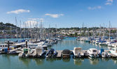 Dartmouth Marina Devon England UK boats and yachts on the river with blue sky during the summer heatwave of 2013 — 图库照片
