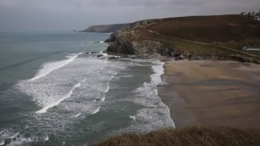 Porthtowan beach near St Agnes Cornwall England UK a popular tourist destination on the North Cornish heritage coast — Stock Video