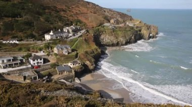 View of St Agnes coast of Cornwall England United Kingdom — Stock Video