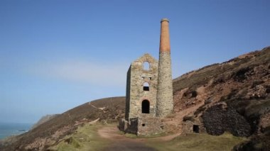 Cornwall coast and old tin mine England UK — Stock Video