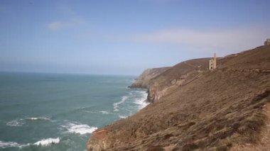 Cornwall coast and old tin mine England UK — Stockvideo