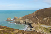 Beach next to St Agnes Cornwall England UK to the north east viewed from the South West Coast Path — Stock Photo