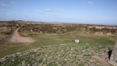 Trig point at Black Down the highest hill in the Mendip Hills Somerset in south-west England UK — Stock Video