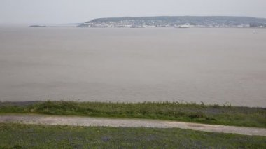Weston-super-mare bay and bluebells Somerset England filmed from Brean Down — Stock Video