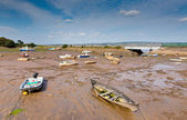 Boats at low tide Cockwood near Starcross Devon next to River Exe — Stock Photo