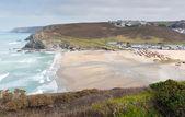 Portreath playa north cornwall inglaterra uk entre st agnes y godrevy en la costa del patrimonio — Foto de Stock