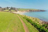South West Coast Path Porthcurnick beach Cornwall England UK north of Portscatho on the Roseland peninsula — Stock Photo